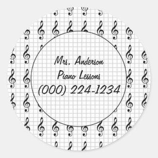 Clef Note on Graph Paper- Piano Teacher Classic Round Sticker