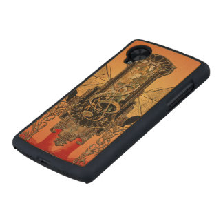 Clef on a decorative button carved® maple nexus 5 slim case