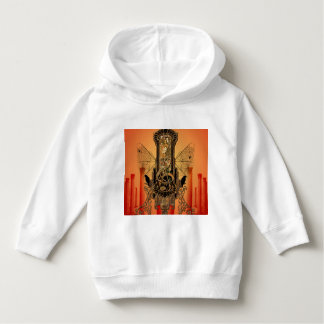 Clef on a decorative button hoodie