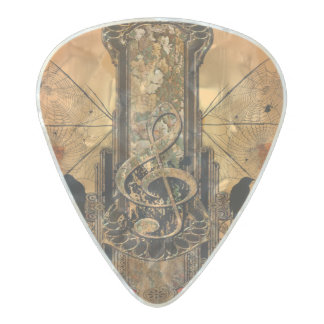 Clef on a decorative button pearl celluloid guitar pick