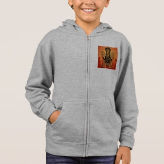 Clef on a decorative button with birds hoodie