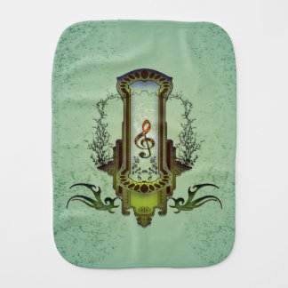 Clef on decorative button with roses baby burp cloth
