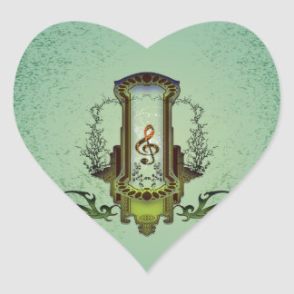 Clef on decorative button with roses heart sticker