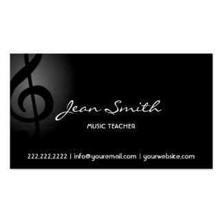 Clef oscuro elegante del profesor de música tarjetas de visita