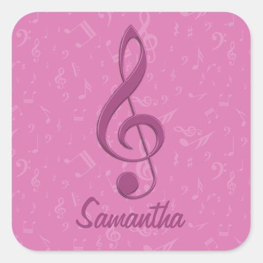 Clef rosado femenino adaptable y notas musicales calcomanias cuadradas