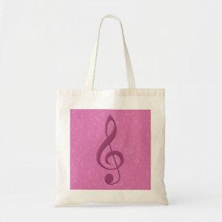 Clef rosado femenino y notas musicales bolsa tela barata