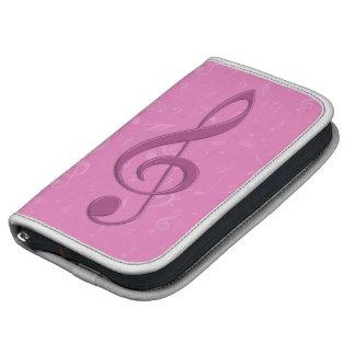 Clef rosado femenino y notas musicales organizador
