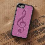 Clef rosado femenino y notas musicales funda de iPhone 6 tough xtreme