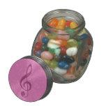 Clef rosado femenino y notas musicales frascos cristal