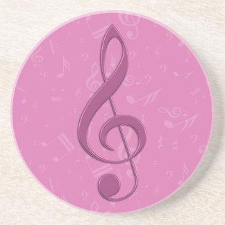 Clef rosado femenino y notas musicales posavasos cerveza