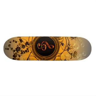 Clef with floral elements skateboard