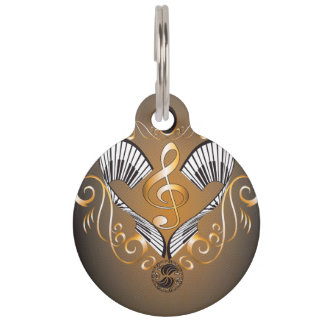 Clef with piano pet tags