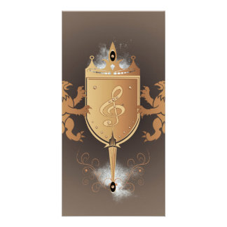Clef with shield photo greeting card