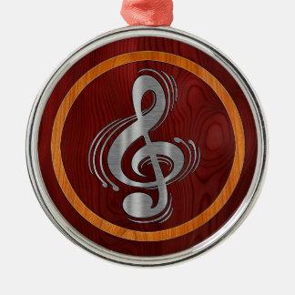 Clef - Wood & Brushed Chrome Metal Ornament