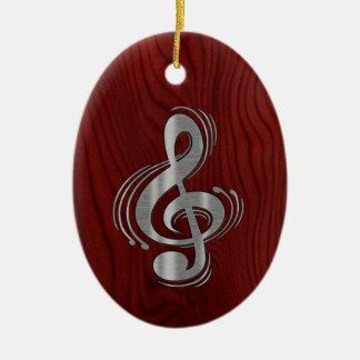 Clef - Wood & Brushed Chrome Christmas Tree Ornaments