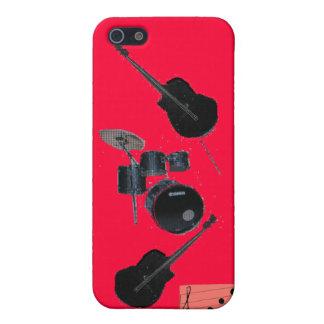 Cleff agudo de la guitarra y de los tambores iPhone 5 protectores