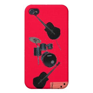 Cleff agudo de la guitarra y de los tambores iPhone 4/4S carcasas