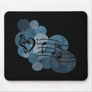 Clefs de la música del corazón y lunares azules tapetes de ratones