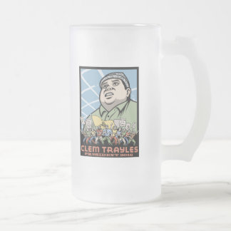Clem Trayles President Frosted Glass Beer Mug