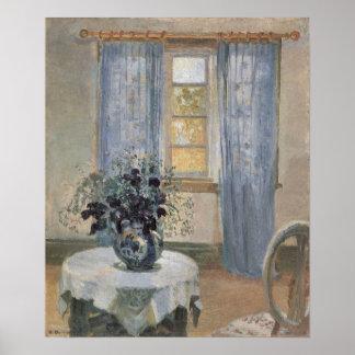 Clematis azul en el estudio del artista, Ana Póster