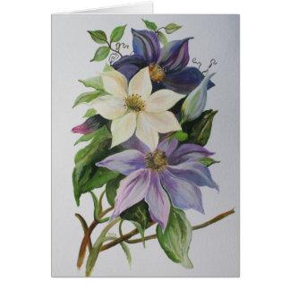 Clematis de la lila tarjeta de felicitación