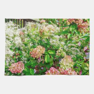 Clematis dulce del otoño y Hydrangea rosado Toalla De Mano