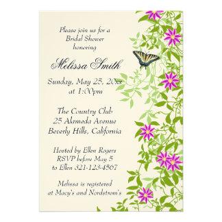 Clematis Floral Garden Vines Bridal Shower Invite