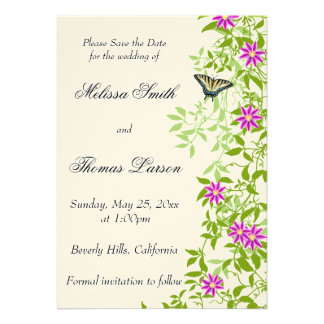 Clematis Floral Garden Vines Save the Date Personalized Announcements