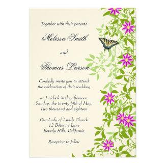 Clematis Floral Garden Vines Wedding Invitation