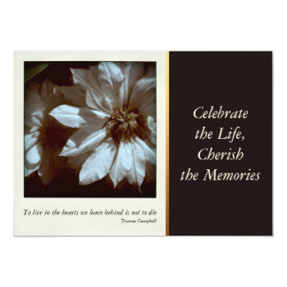 Clematis Floral Photography 3 Celebration of Life 5x7 Paper Invitation Card