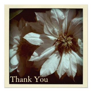 """Clematis Floral Photography  Thank You Cards 5.25"""" Square Invitation Card"""