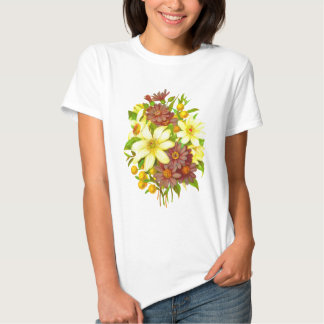 Clematis Floral Retro Vintage Composition Tee Shirt