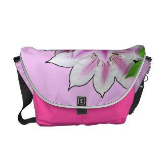 Clematis Flower Design On Lavender Messenger Bag