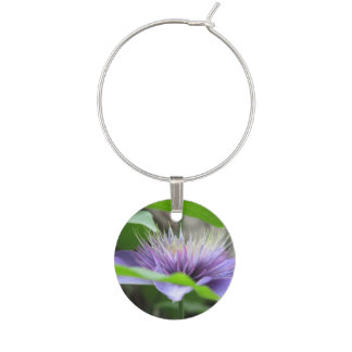 Clematis Flowers Wine Glass Charm