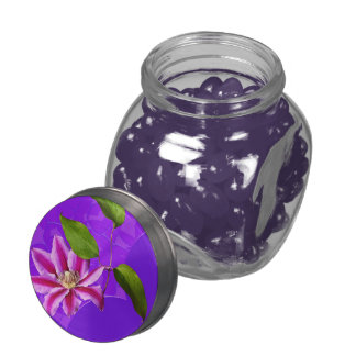 Clematis Glass Candy Jar