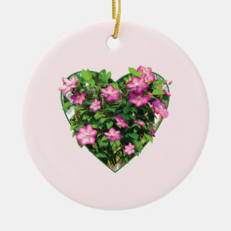 Clematis on a Trellis Double-Sided Ceramic Round Christmas Ornament
