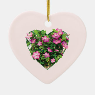 Clematis on a Trellis Double-Sided Heart Ceramic Christmas Ornament