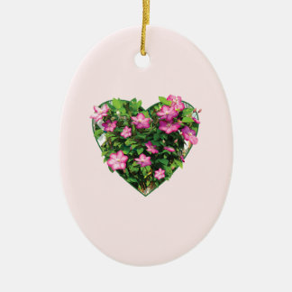 Clematis on a Trellis Double-Sided Oval Ceramic Christmas Ornament