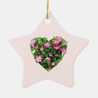 Clematis on a Trellis Double-Sided Star Ceramic Christmas Ornament
