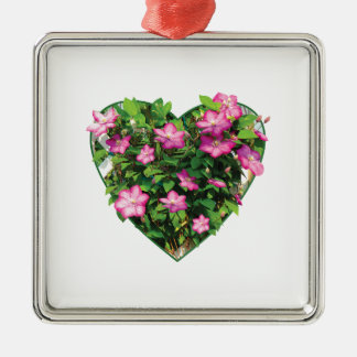 Clematis on a Trellis Square Metal Christmas Ornament