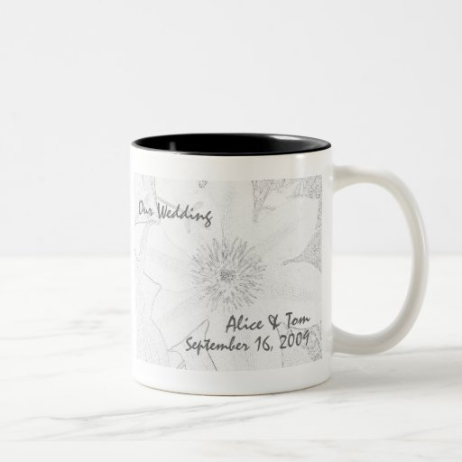 "Clematis ""Our Wedding"" Mugs"