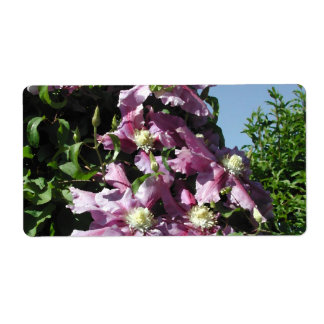 Clematis Pink Flowers and blue sky Custom Shipping Label