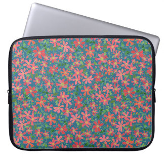 Clematis Pink, Red, Orange Floral on Deep Blue Computer Sleeve