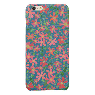 Clematis Pink, Red, Orange Floral on Deep Blue Glossy iPhone 6 Plus Case
