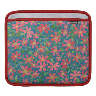 Clematis Pink, Red, Orange Floral on Deep Blue Sleeve For iPads