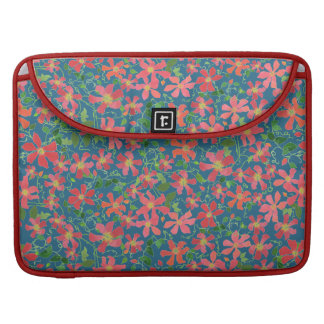 Clematis Pink, Red, Orange Floral on Deep Blue Sleeve For MacBook Pro