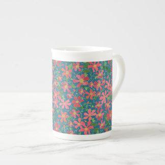 Clematis Pink, Red, Orange Floral on Deep Blue Tea Cup