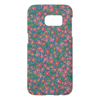 Clematis Pink, Red, Orange Floral Pattern on Taupe Samsung Galaxy S7 Case