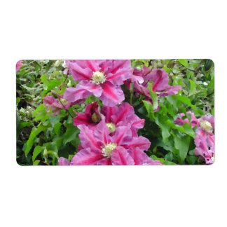 Clematis Pinky Purple Flowers Feminine Personalized Shipping Label
