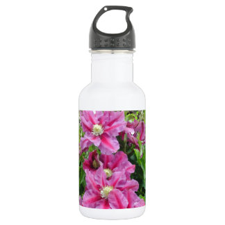 Clematis. Pinky Purple Flowers. Feminine. Stainless Steel Water Bottle
